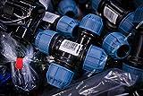 PP-Klemmverbinder 90° Winkel - PE Rohre Klemmfitting Verschraubung, PE-Bewässerungsrohr - DVGW mit Trinkwasserzulassung, Größe:16 mm x 16 mm