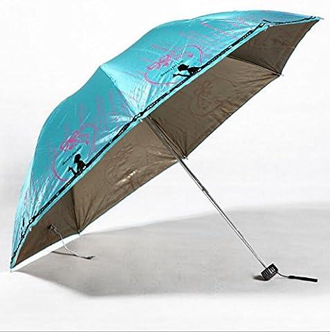 GT Umbrella Manual Fashion 3-Folding Umbrella Ultra-light, Embossed Rain Umbrella Sturdy Windproof Anti-UV Sunscreen