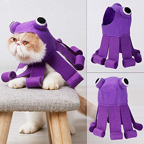 Tineer Haustier Hund Katze Cosplay Halloween Weihnachten Kostüm Hund Lila Krake Hut Party Urlaub Dekoration Haar Kappe Zubehör