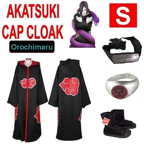 Naruto costume cosplay Set per Orochimaru- Akatsuki Mantello incappucciato + anello Akatsuki Orochimaru+ fascia + scarpe Naruto Akatsuki , taglia S (altezza 148cm-160 cm)