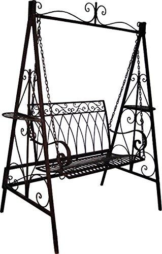 Hollywoodschaukel Metall dunkelbraun B 187 cm Schaukel Gartenschaukel Schaukelbank