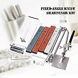 KKmoon, kit per affilatura coltelli, angolo fisso migliorato, interamente in acciaio inox, professionale, con 4pietre affilacoltelli