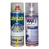 PREMIUM Sprayset für VW Chagallblau Farbcode LD5D oder J2 oder 9524 Bj. 1994 - 2000 Unilack * 2 Spraydosen Lack Spray im Set - Eine Spraydose Basislack 400 ml und eine Dose 2K Klarlack hochglänzend 400ml.
