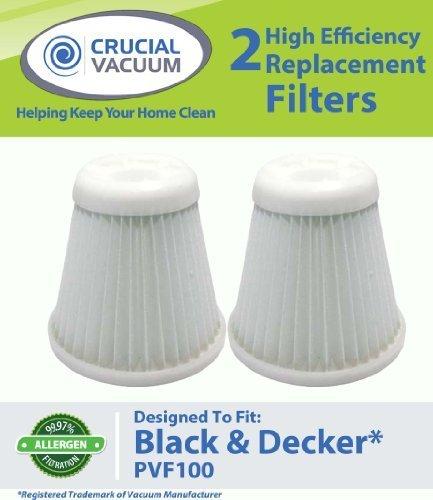 2Black und Decker phv1800Ersatz Filter Passen Schwarz & Decker Pivot VAC Modell phv1800, vergleichen zu Black & Decker Staubsauger Teil # PVF100, pvf-100, 5147239–00, 514723900, entworfen und hergestellt von Crucial Vacuum