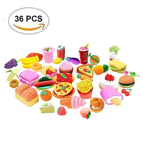 FengNiao 36 Stück Bleistift Radiergummis sortiert Set japanischen Stil Obst Kuchen Dessert Essen...