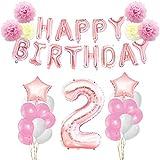 KUNGYO 2 Anni Compleanno Accessori per Feste - Happy Birthday Banner di Palloncini, Palloncini in Alluminio a Stelle e Numeri, Nastri Decorativi, Fiori di Tessuto, Palloncini in Lattice