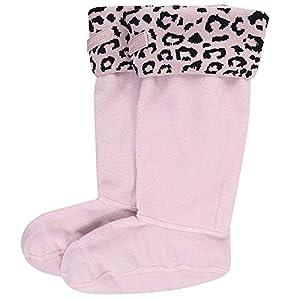Hunter Kids Original Boot Socks Snow Leopard Cuff haze pink leopard jacquard