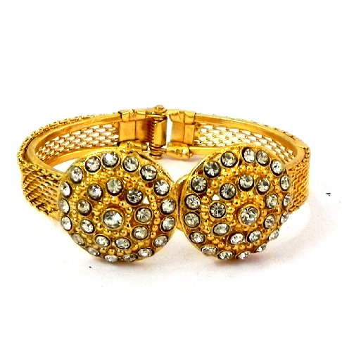 Variation Golden Color 22k One Gram Gold Plated American Diamond Studded Floral Adjustable Bangle For Women's (Free Size) - VD14678  available at amazon for Rs.199