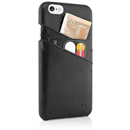 delightable24 Echtleder Designer SMART CASE Schutzhülle für Apple iPhone 6 / 6S Smartphone - Schwarz Schwarz