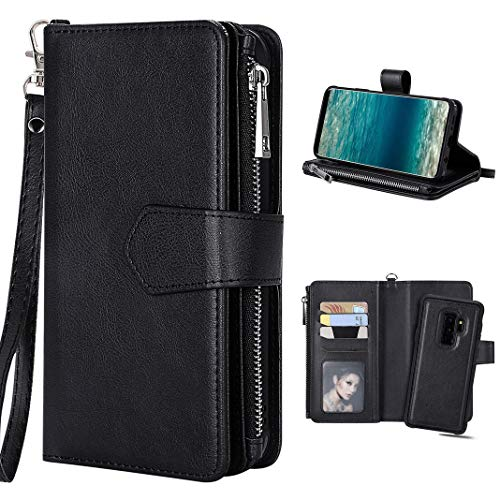 Hülle Galaxy S9 Plus Flip Case, Galaxy S9 Plus Geldbeutel Leder Schwarz, Purple Angel Magnet Leder Handyhülle Abnehmbar Brieftasche Case Cover im Ständer Kartenfach Schutztasche Schale Etui