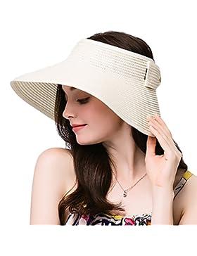 Leisial Mujer Sombrero Sol Gorro Ancho De Sol Color Sólido Diseño Elegante Del Bowknot Casquillo De Paja Vacie...