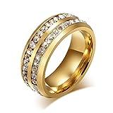 AnazoZ Edelstahl Ringe Für Damen Hochzeit Ringe Zirkonia Gold Doppel Rows 8MM Size 74(23.6)