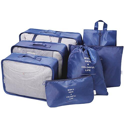 Faxsthy Packing Cubes Set 7-teilig, Faxsthy Packwürfel Kleidertasche Kofferorganizer Packtaschen für Koffer Reisetasche Rucksack Sporttasche Wasserdicht Grau