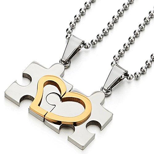 COOLSTEELANDBEYOND Par Corazón Un Rompecabezas de Collar, Collar con Colgante para Hombre Mujer Amantes Parejas Amigos, Acero Plata Oro