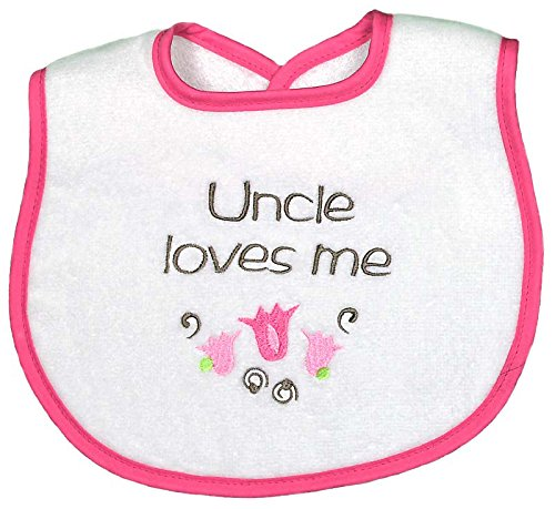 Raindrops Uncle Loves Me Embroidered Bib, Strawberry/Hot Pink