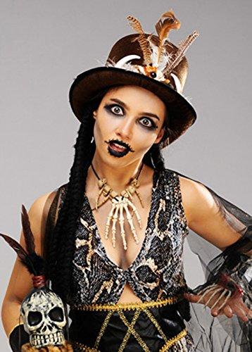 Magic Box Int. Womens Brown Voodoo Zylinderhut mit - Voodoo Hexe Arzt Kostüm
