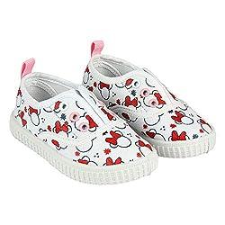 Minnie Maus-Freundinsegeltuchschuhe von Disney Ohne Saiten. Weiß und Rot (Größen 22 bis 27) (25 EU)