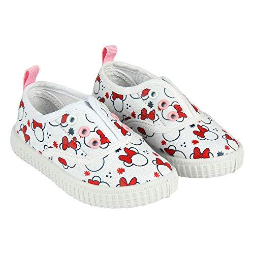 Minnie Maus-Freundinsegeltuchschuhe von Disney Ohne Saiten. Weiß und Rot (Größen 22 bis 27) (24 EU)