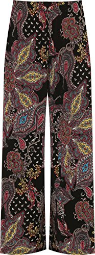 WEARALL Plus Womens Wide Leg Palazzo Trouser Pants Ladies Flared Paisley Print Stretch 12-26