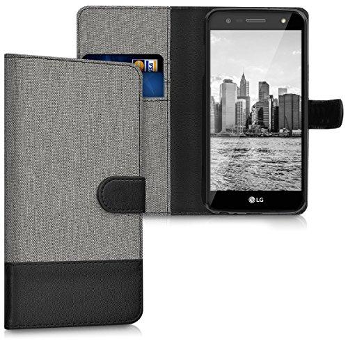 kwmobile LG X Power 2 Hülle - Kunstleder Wallet Case für LG X Power 2 mit Kartenfächern und Stand