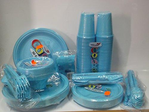 Set da tavola party feste piatti bicchieri posate tovaglioli azzurro celeste