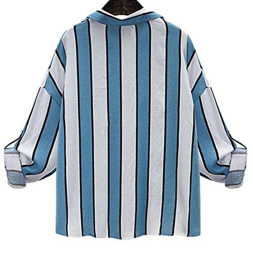 Xmansky Camicia sciolti delle donne con camicia d'epoca Poket Blu