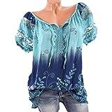 VJGOAL Damen T-Shirt, Damen Mode Kurzarm V-Ausschnitt Spitze Gedruckte Spitze Tops Sommer Lose T-Shirt Bluse (5XL/52, Blau)