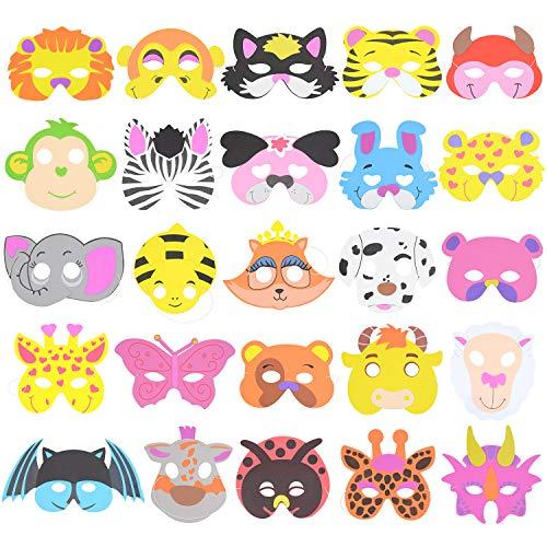RETON Máscaras de Animales de Espuma Infantil para Fiesta, Paquete de 50