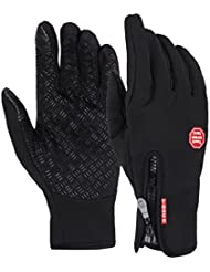 V-SOL Guantes Con Dedos Pantalla Táctil Deportivo De Motos o Bicicleta (Negro, Asia XL)