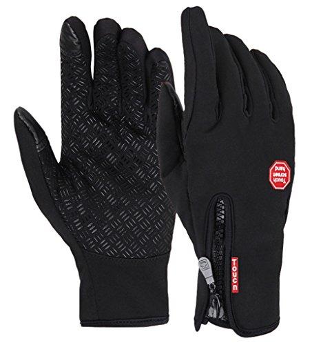 V-SOL Guantes Con Dedos Pantalla Táctil Deportivo De Motos o Bicicleta (Negro, Asia L)