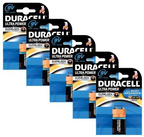 Duracell Alkaline Batterie 9V X 5Ultra Power