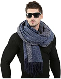 1e280863586 Haoling 70 cm   200 cm Hommes écharpes de Mode Hommes Laine d hiver tricoté  écharpe en Cachemire Haute qualité Couple épais Chaud…
