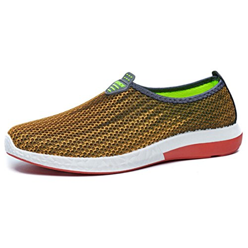 Men's Gradient Color Mesh Breathable Slip On Casual Shoes yellow