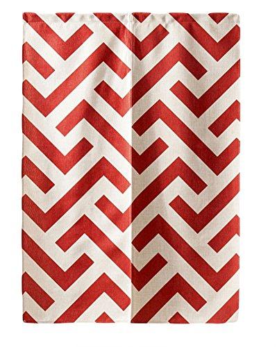 LIVEINU Noren Tenda in Lino per Porta con Barre di Tensione Anteriore Tappezzeria Giapponese della Porta Tenda per Porta Finestra Cucina 85 x 120 cm Rosso Geometrico