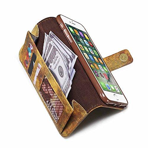 Custodia iPhone 7 Plus, Custodia iPhone 8 Plus [Protezione libera dello schermo], Dfly Foresta Stile PU Pelle Especially Powerful Portafoglio Funzione Design Chiusura Magnetica Flip Cover Per iPhone 7 Giallo