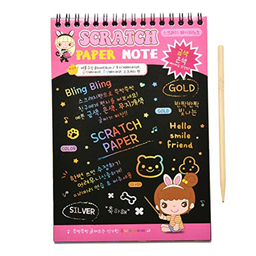 ch Art Paper Doodle Pad Drawing Notes for Kids (10-Sheets, Medium Size Pink) (Rainbow Scratch Paper)
