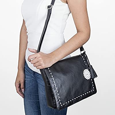 BACCINI® Sac à bandoulière Capri Femme - Grand Sac en Cuir avec Sangle - Sacoche Sac Femme Noir Sac Cuir véritable