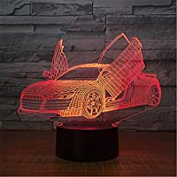 Regalo para niños Coche 3D Mesa de luz Luz Led Luz de noche Control remoto 7