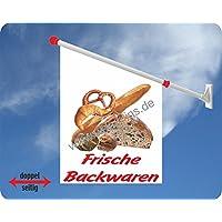 Werbeflagge (Fahne mit über 50 Varianten, Text und Bild, z.B. Eis, Döner, Kaffee, Crepes, Waffeln, Pommes uvm.) Ideal für Kiosk, Restaurant oder Kirmes, weiß