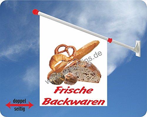 Werbeflagge, Werbefahne, Kaffeeflagge, Kuchenflagge - Kaffee, Kuchen, Torte - Ideal für Café, Bäckerei, Konditorei oder Hofladen, versch. Varianten, weiß (Frische Backwaren)