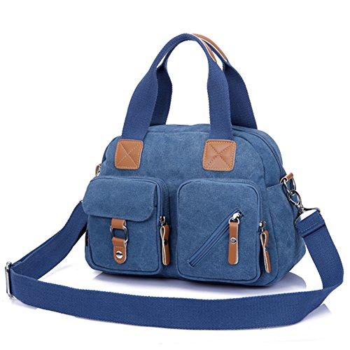 Ladies singola borsa a tracolla,borsa di tela,portatile/messenger bag-Blu Blu
