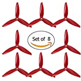 AOKFPV 8PCS Gemfan 5152 3-Lame (5.1x5.2x3) FPV Hélice pour 180 250 280 RC Drone Multicopters Bricolage 4CW 4CCW Rouge