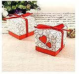 JZK® 50 x Rosso cuore scatolina scatola portaconfetti portariso bomboniera segnaposto per matrimonio anniversario compleanno battesimo comunione nascita laurea Natale festa bomboniere scatoline scatole carta porta confetti riso regalo