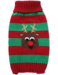 QHGstore Suéter de animal doméstico de los alces para los pequeños a los perros medianos rojo + verde S