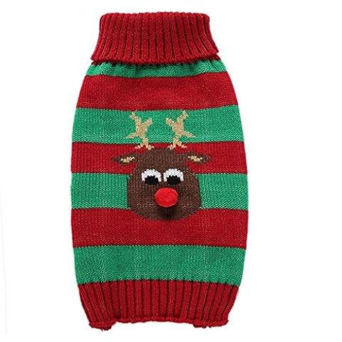 LUFA Haustier Kleidung Weiche warme Streifen Elche Weihnachten Hund Pullover Classic Weste Turtleneck (Baby-kürbis-kostüm Uk)