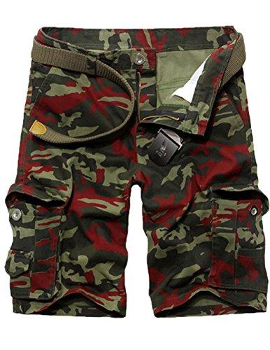 CUKKE Uomo Pantaloncini corti Bermuda Cargo short con tasconi laterali con cintura camouflage