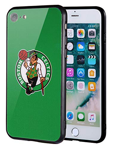 Die Masse iPhone 8Fall, iPhone 7Fall, NBA Team Logo auf gehärtetem Glas Backcover und Soft TPU Rahmen für Apple iPhone 8/7, 4.7 inch, Boston-Celtics-Grün - Team-logo Iphone Fall