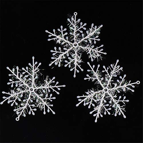 MINMINA ChristmasTreeDecorationPendant ChristmasSnowflake ChristmasTreeDecoration Christmas SmallSnowflakeWeihnachtenDekoration, Schneeflocken, 11cm, DREI -