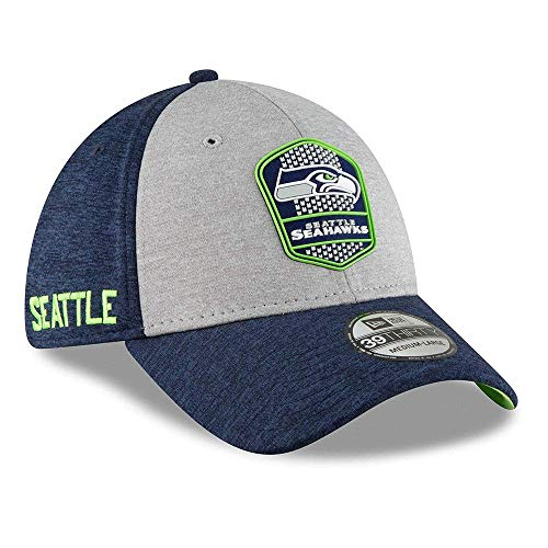 New Era Seattle Seahawks on Field Sideline 18 Road 3930 39thirty Cap Curved Visor M L NFL