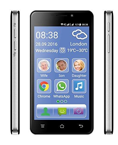 Cellulare Smartphone per Anziani Suoneria Volume Amplificati Extra Forte Compatibile Apparecchi Acustici M4 T4 Tasto SOS Emergenza Medica Dual Sim Display 5 Fotocamera Quad Core RAM 1 GB Flash 8GB